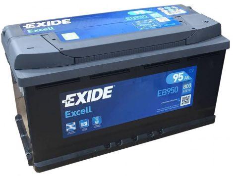 EXIDE Excell EB950 95Ah 800A autó akkumulátor jobb+ (+AJÁNDÉK!)