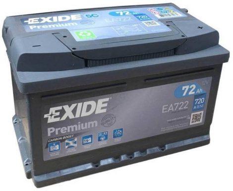 EXIDE Premium EA722 72Ah 720A autó akkumulátor jobb+ (+AJÁNDÉK!)