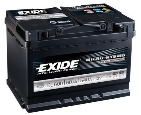 EXIDE ECM EL600 60Ah 540A start-stop autó akkumulátor jobb+
