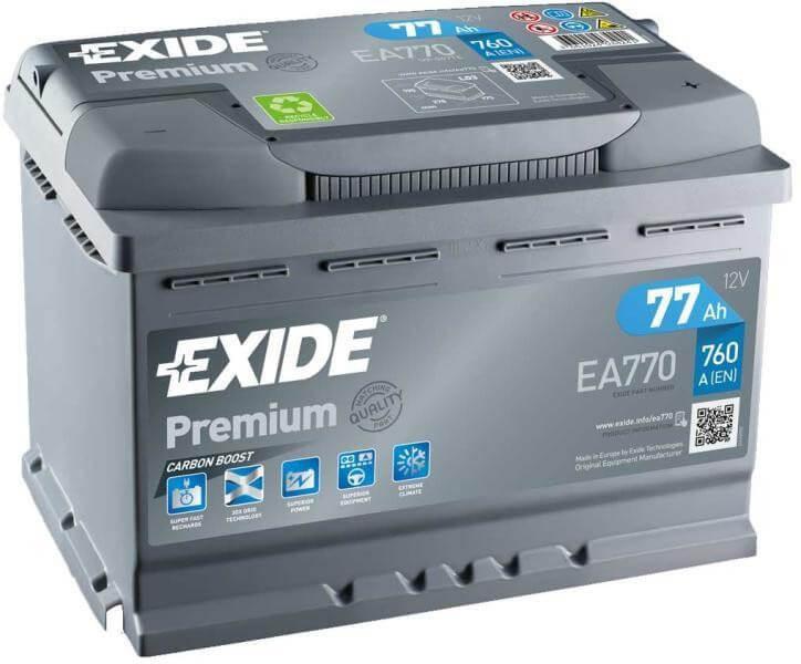 EXIDE Premium EA770 77Ah 760A autó akkumulátor jobb+