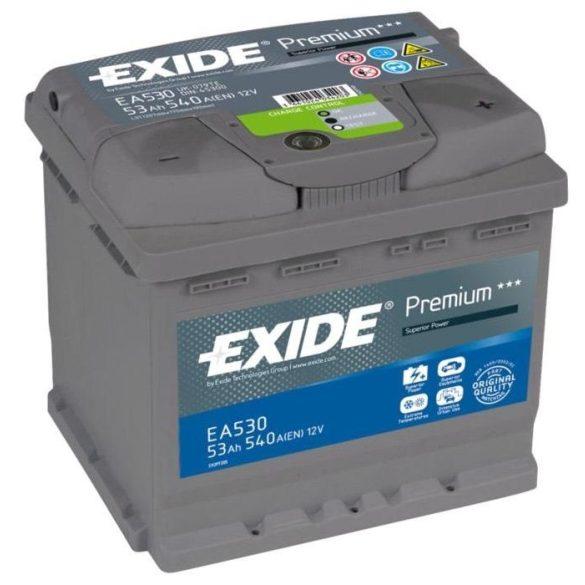 EXIDE Premium EA530 53Ah 540A autó akkumulátor jobb+