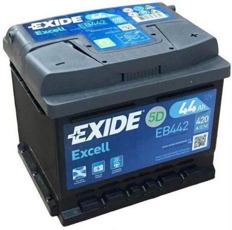 EXIDE Excell EB442 44Ah 420A autó akkumulátor jobb+