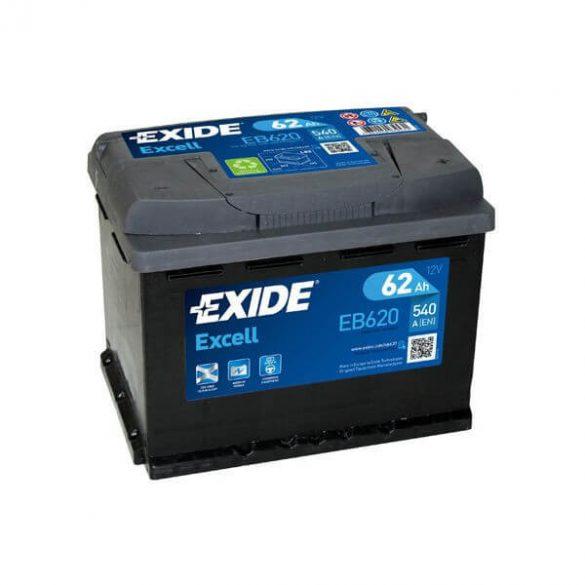 EXIDE Excell EB620 62Ah 540A autó akkumulátor jobb+