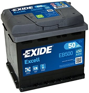 EXIDE Excell EB500 50Ah 450A autó akkumulátor jobb+