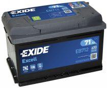 EXIDE Excell EB712 71Ah 670A autó akkumulátor jobb+ (+AJÁNDÉK!)