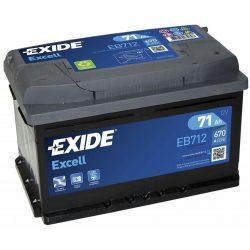 EXIDE Excell EB712 71Ah 670A autó akkumulátor jobb+