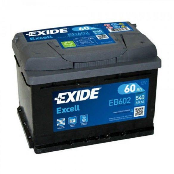 EXIDE Excell EB602 60Ah 540A autó akkumulátor jobb+