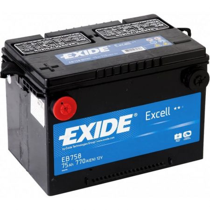 EXIDE Excell EB758 75Ah 770A oldalkivezetéses USA autó akkumulátor bal+