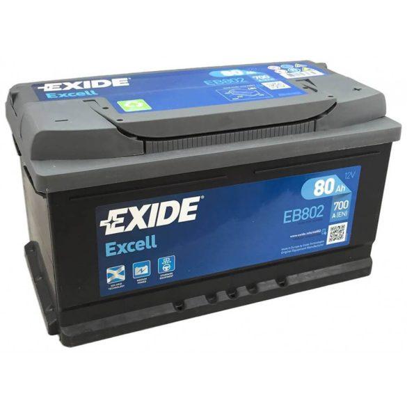 EXIDE Excell EB802 80Ah 700A autó akkumulátor jobb+