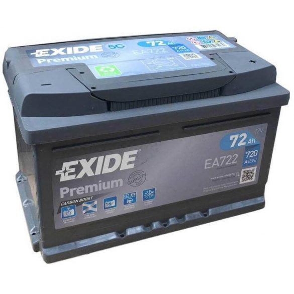 EXIDE Premium EA722 72Ah 720A autó akkumulátor jobb+