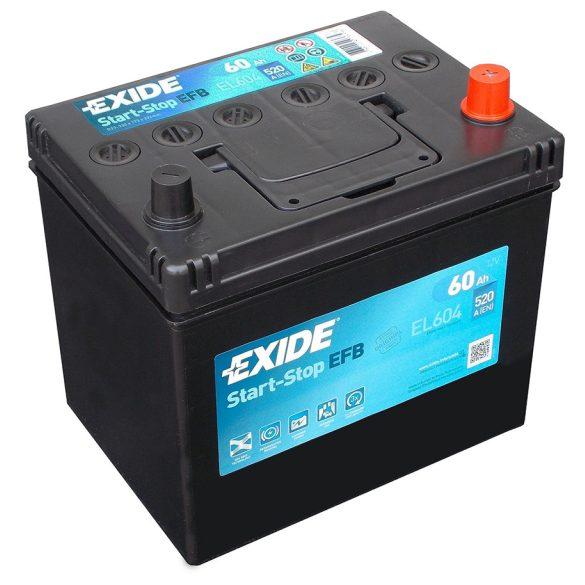 EXIDE Start-Stop EFB EL604 60Ah autó akkumulátor jobb+