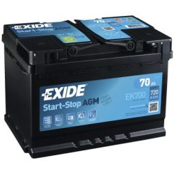 EXIDE Start-Stop AGM EK700 12V 70Ah autó akkumulátor jobb+