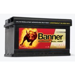 Banner Running Bull 12V 80Ah autó akkumulátor AGM 580 01 jobb+