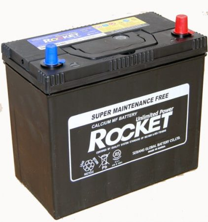 Rocket 45Ah 12V autó akkumulátor NX100-S6L ASIA vékonysaru jobb+ (+AJÁNDÉK!)
