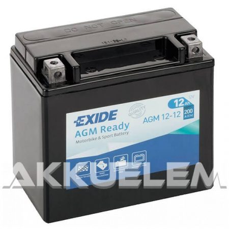 Exide AGM12-12 12V 12Ah motorkerékpár akkumulátor BAL+