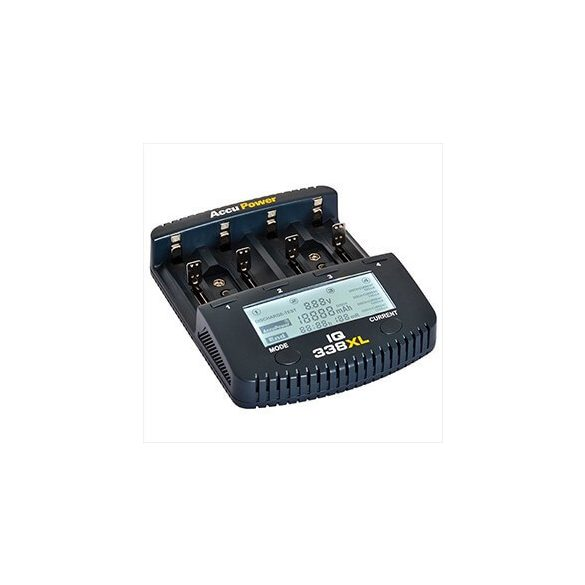 Accupower IQ-338XL Li-ion Ni-Cd Ni-MH univerzális gyorstöltő LCD-kijelzős