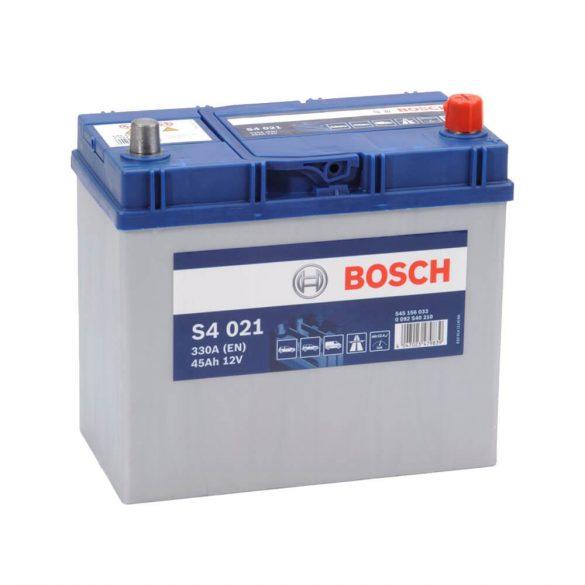 Bosch S4 12V 45Ah 330A Asia autó akku JOBB+